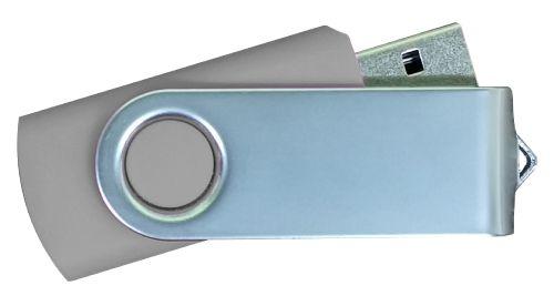USB Flash Drives Matt Silver Swivel - Grey 16GB