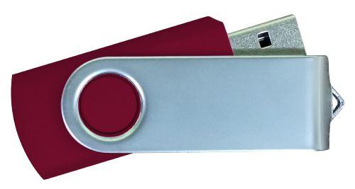 USB Flash Drives Matt Silver Swivel - Maroon 32GB