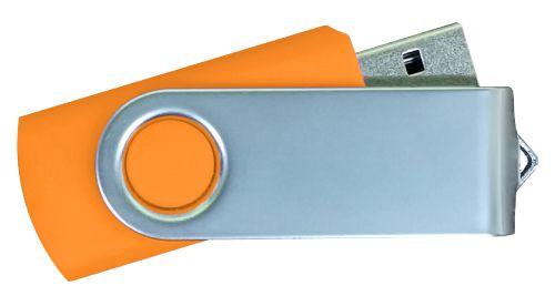 USB Flash Drives Matt Silver Swivel - Orange 16GB