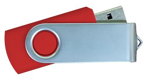 USB Flash Drives Matt Silver Swivel - Red 16GB