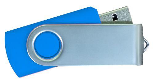 USB Flash Drives Matt Silver Swivel - Royal Blue 8GB