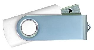 USB Flash Drives Matt Silver Swivel - White 16GB
