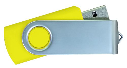 USB Flash Drives Matt Silver Swivel - Yellow 16GB
