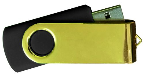 USB Flash Drives Mirror Shiny Gold Swivel - Black 8GB