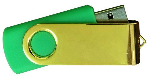 USB Flash Drives Mirror Shiny Gold Swivel - Green 32GB