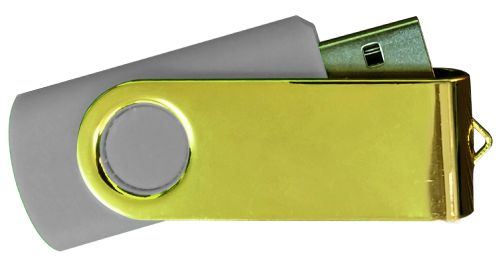 USB Flash Drives Mirror Shiny Gold Swivel - Grey 8GB