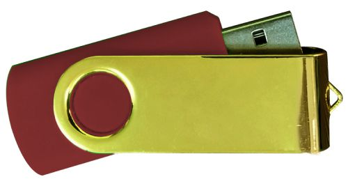 USB Flash Drives Mirror Shiny Gold Swivel - Maroon 8GB