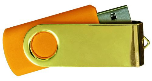 USB Flash Drives Mirror Shiny Gold Swivel - Orange