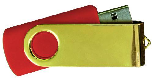 USB Flash Drives Mirror Shiny Gold Swivel - Red 8GB