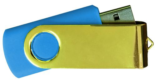 USB Flash Drives Mirror Shiny Gold Swivel - Royal Blue 8GB