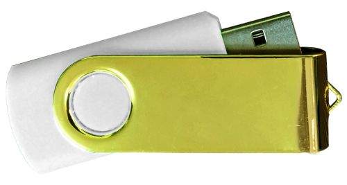 USB Flash Drives Mirror Shiny Gold Swivel - White  8GB