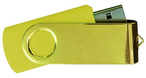 USB Flash Drives Mirror Shiny Gold Swivel - Yellow 8GB