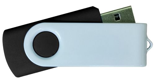 USB Flash Drives - Black with White Swivel 16GB