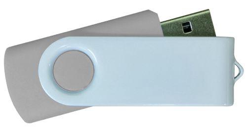 USB Flash Drives - Grey with White Swivel 8GB