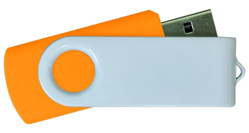 USB Flash Drives - Orange with White Swivel 8GB