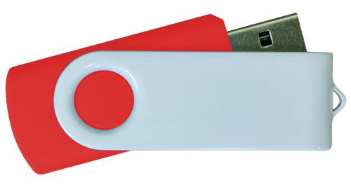 USB Flash Drives - Red with White Swivel 16GB