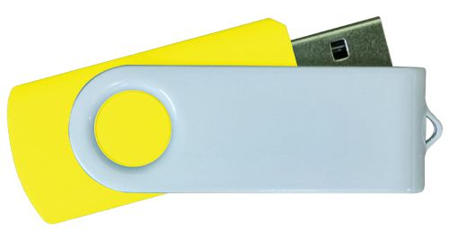 USB Flash Drives - Yellow with White Swivel 4GB